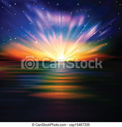 abstract background with sea sunrise and stars - csp15467335