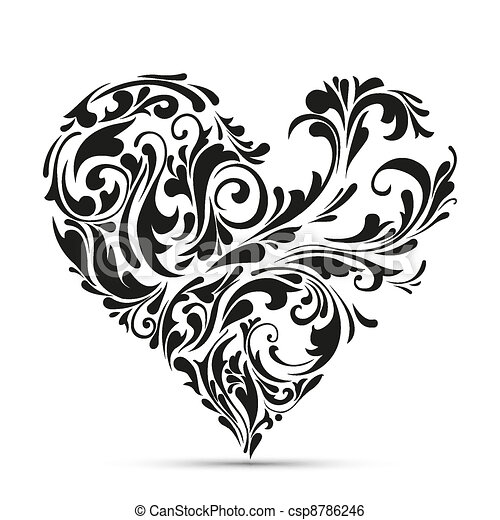 abstract floral heart. love concept - csp8786246