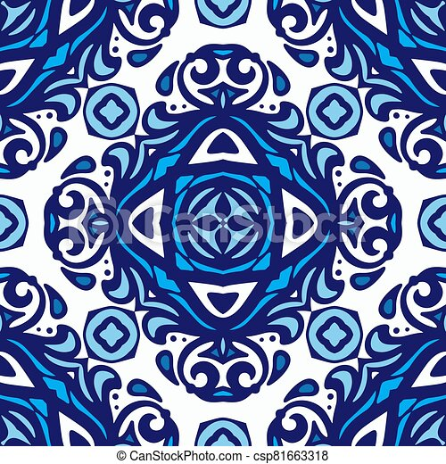 Abstract porcelain blue and white l ethnic background seamless pattern - csp81663318