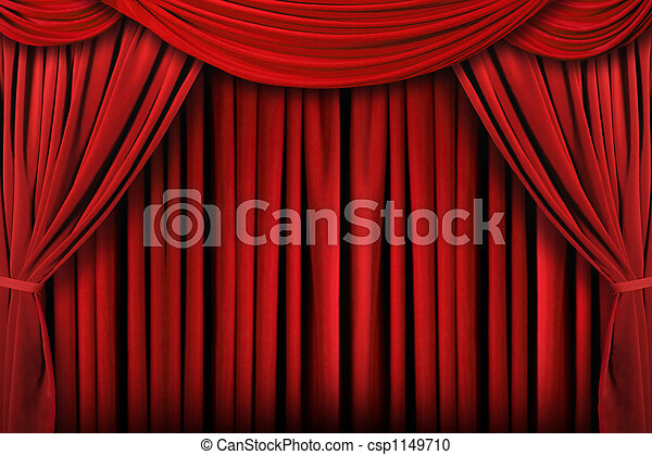 Abstract Red Theatre Stage Drape Background - csp1149710