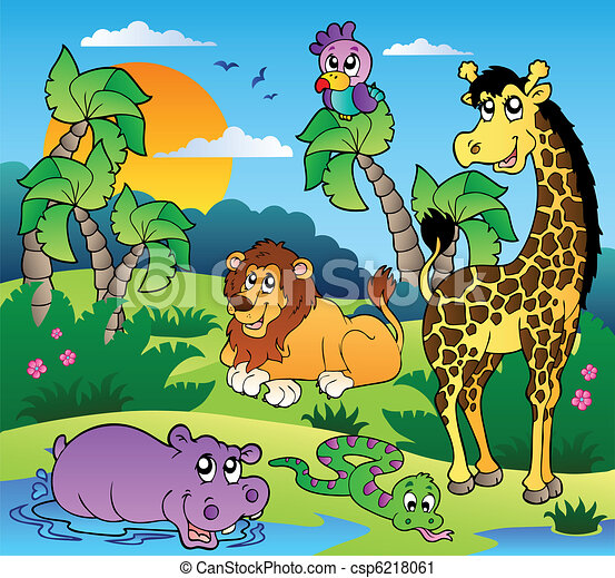 African scenery with animals 1 - csp6218061