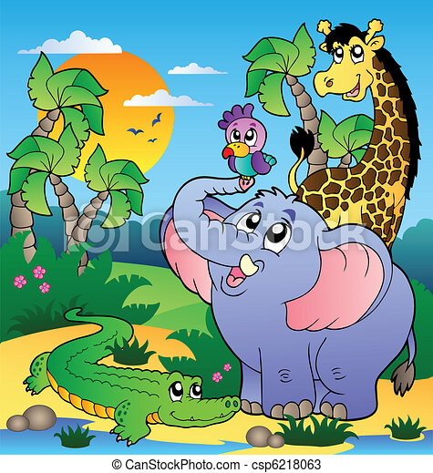 African scenery with animals 2 - csp6218063