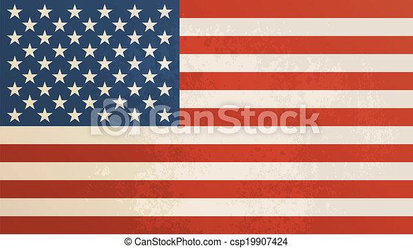 American flag vintage textured background. - csp19907424