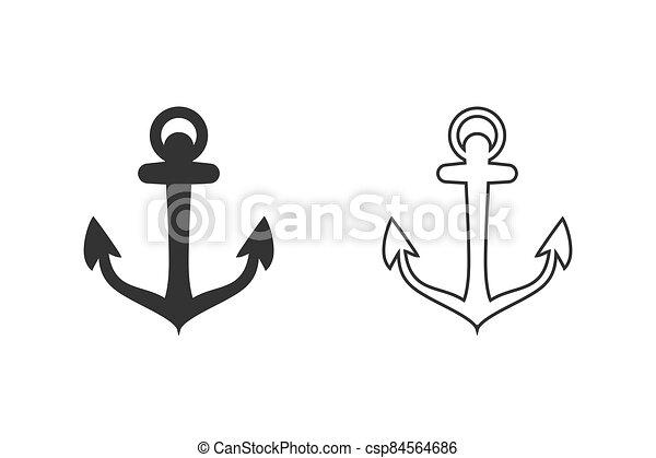 Anchor vector icon set logo Nautical maritime sea ocean boat illustration - csp84564686