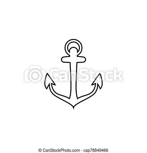 Anchor vector line icon logo Nautical maritime sea ocean boat illustration - csp78849466