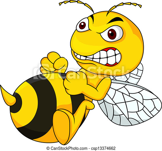 Angry bee cartoon - csp13374662