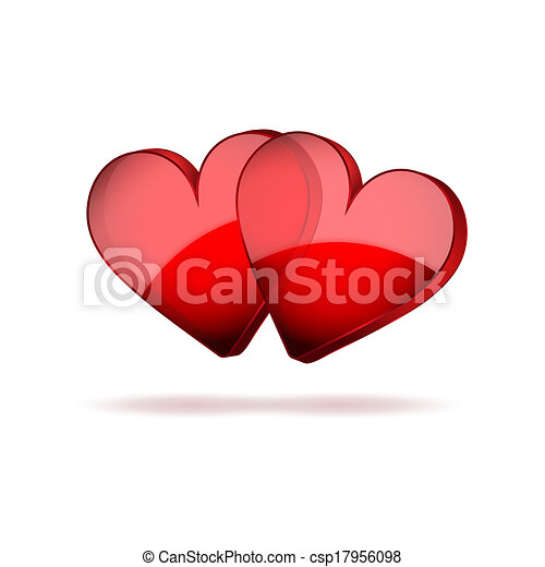Background Two Hearts Happy Valentines Day - csp17956098