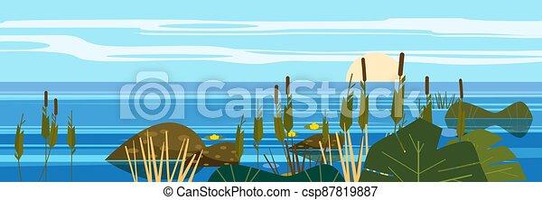 Beautiful landscape sea, lake, stones, reeds, flora, mountains. Vector illustration, trendy cartoon style, poster, banner - csp87819887