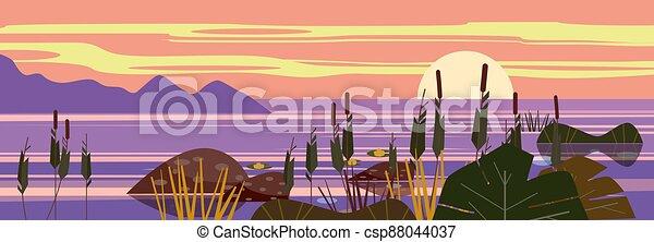 Beautiful landscape Sunset sea, lake, stones, reeds, flora, mountains. Vector illustration, trendy cartoon style, poster, banner - csp88044037