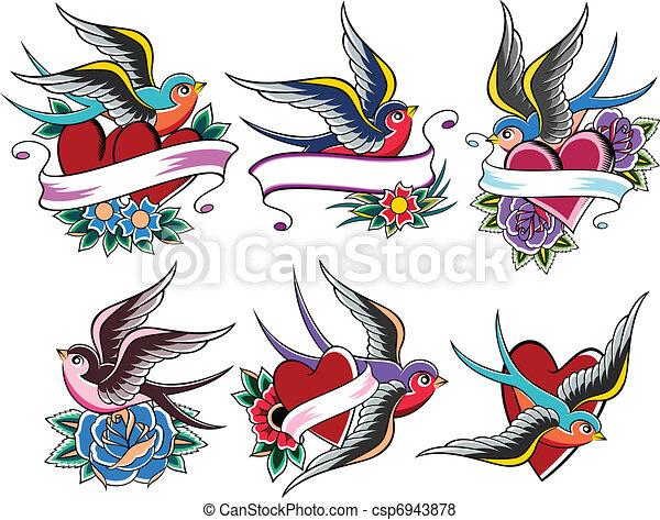 bird tattoo - csp6943878