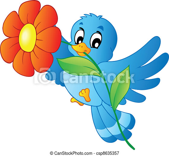Blue bird carrying flower - csp8635357