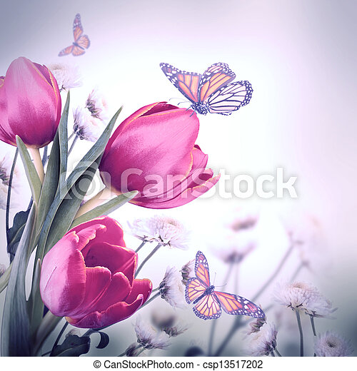 Bouquet of red tulips against a dark background and butterfly - csp13517202