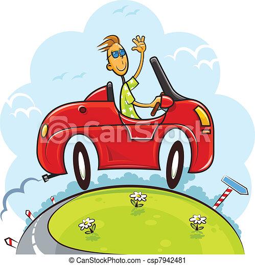 boy drive car - csp7942481