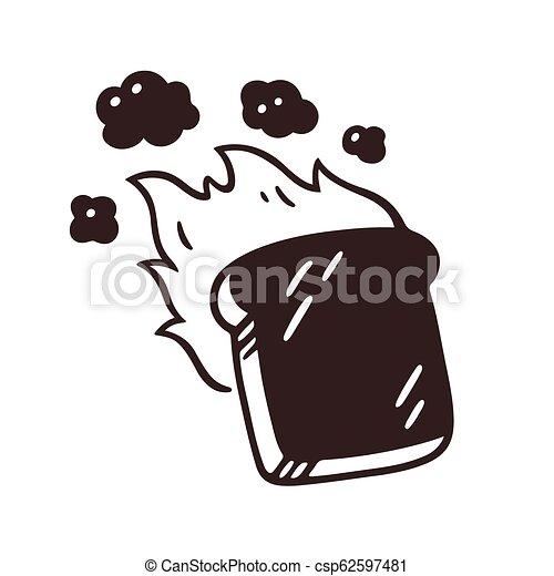 Burnt toast drawing - csp62597481
