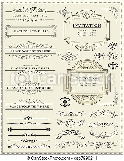 Calligraphic design elements and page decoration - csp7990211