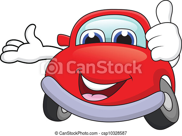 Car cartoon character with thumb up - csp10328587