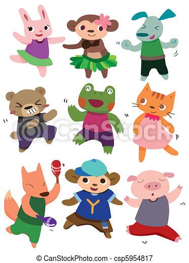 cartoon dancing animal - csp5954817