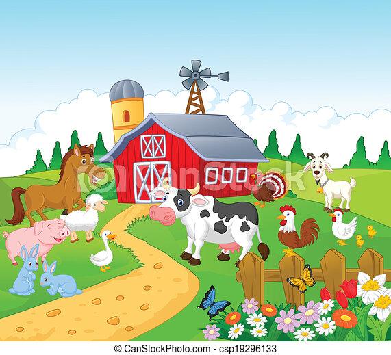 Cartoon Farm background with animal - csp19296133