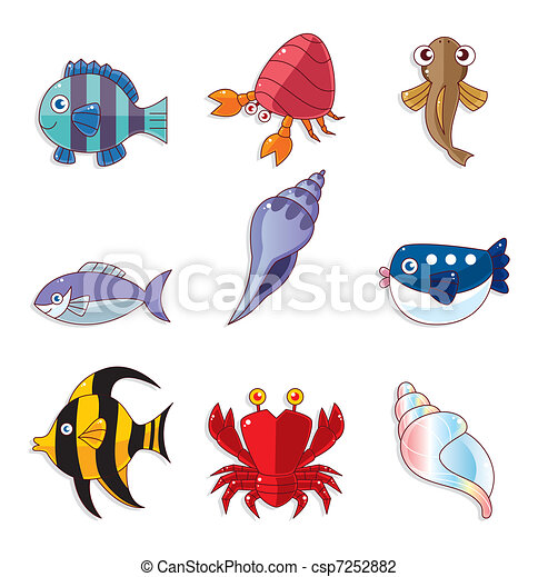 cartoon fish icons - csp7252882