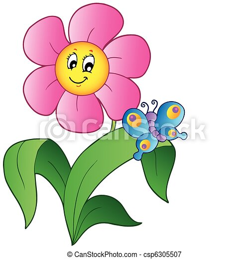 Cartoon flower with butterfly - csp6305507