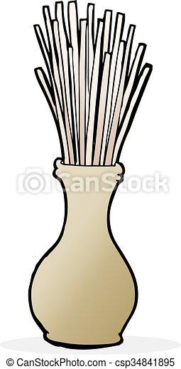 cartoon reeds in vase - csp34841895