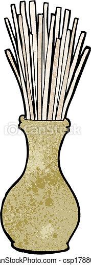 cartoon reeds in vase - csp17880037