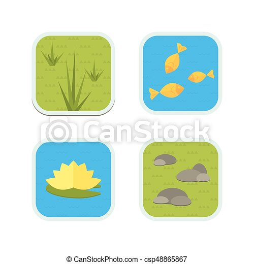 Cartoon vector garden pond icons with water, plants and animals. - csp48865867