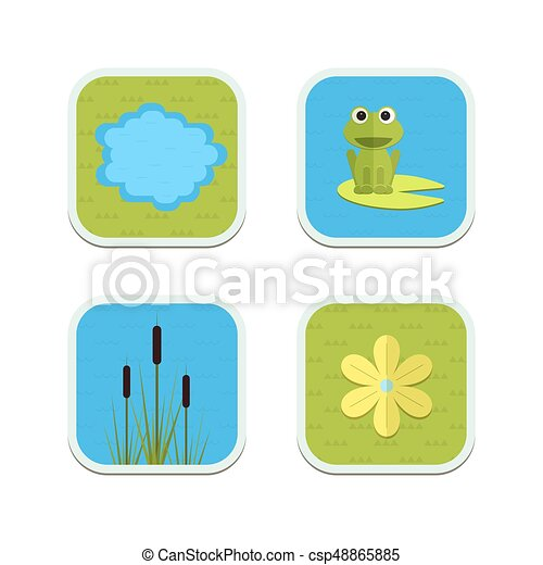 Cartoon vector garden pond icons with water, plants and animals. - csp48865885
