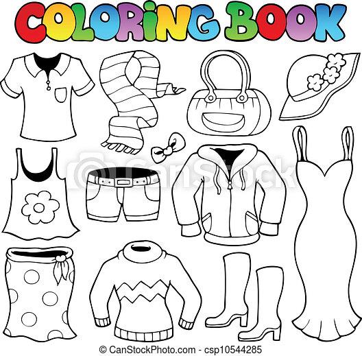 Coloring book clothes theme 1 - csp10544285