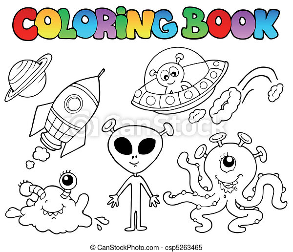 Coloring book with aliens - csp5263465