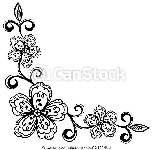 corner ornamental lace flowers. bla - csp13111488