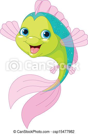 Cute cartoon fish - csp15477982