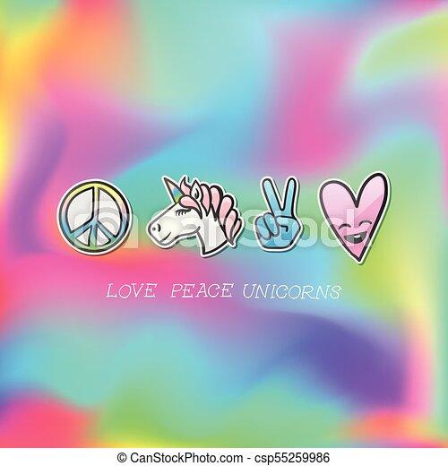 Cute emoji patches badge, love peace unicorn stickers, vector - csp55259986