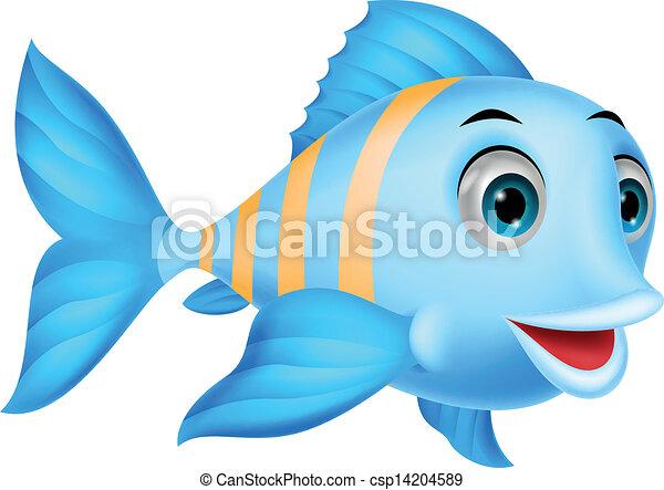 Cute fish cartoon - csp14204589