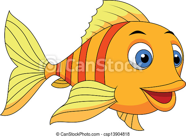 Cute fish cartoon - csp13904818