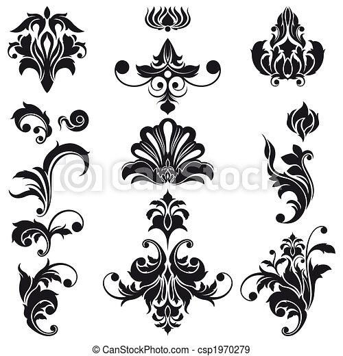 Decorative Floral Design Elements - csp1970279