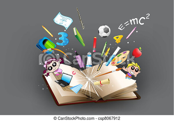 Education object coming out of book - csp8067912