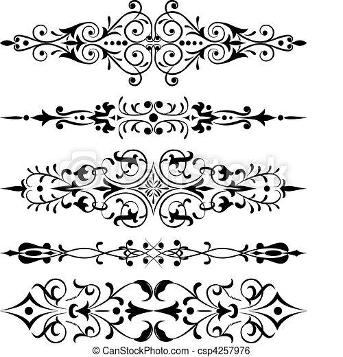 Element for design, corner flower, vector - csp4257976