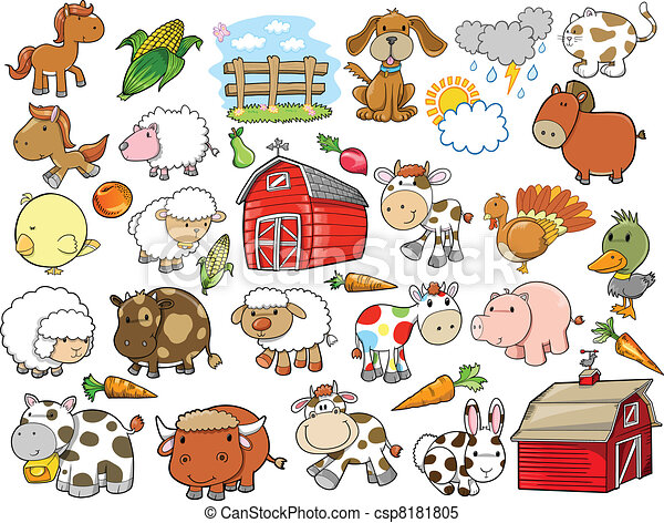Farm Animal Vector Design Elements - csp8181805