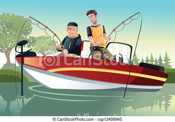 Father and son fishing - csp12408945