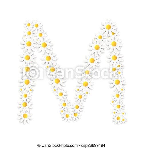Flora Daisy Design Alphabet Vector Illustartion - csp26699494