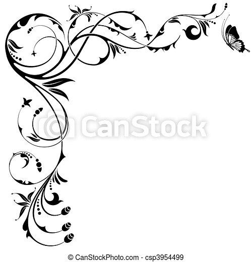 Floral border - csp3954499