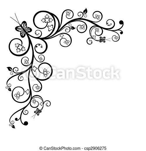 Floral corner design element - csp2906275