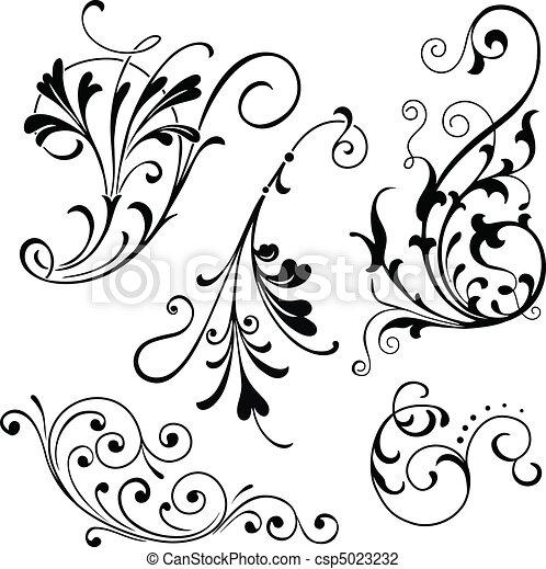 Floral Scrolls - csp5023232