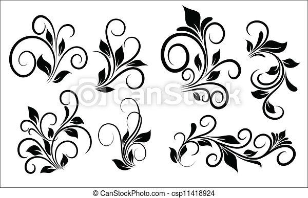 Flourish Swirls Vector Elements - csp11418924