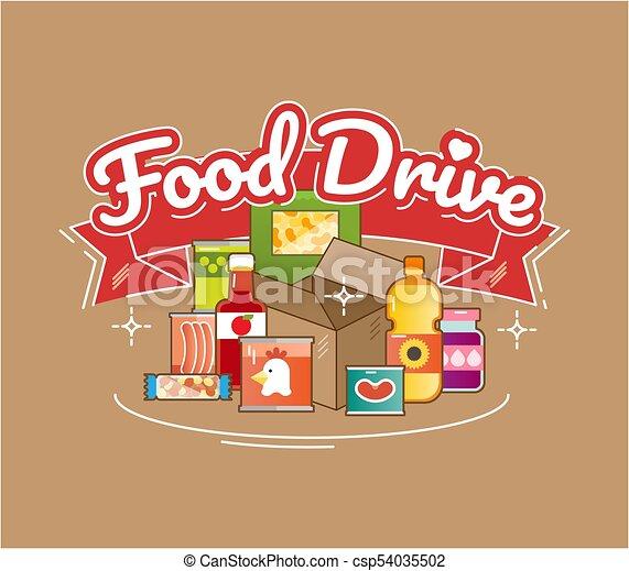 Food Drive charity movement, vector illustration - csp54035502