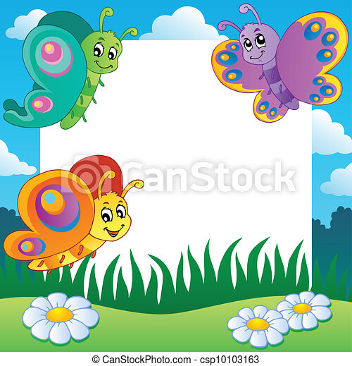 Frame with butterflies theme 1 - csp10103163
