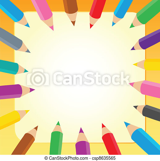 Frame with crayons 1 - csp8635565