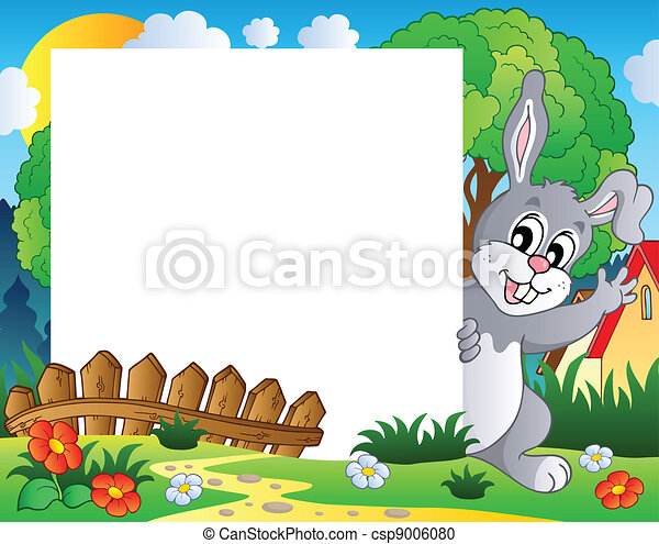 Frame with Easter bunny theme 1 - csp9006080