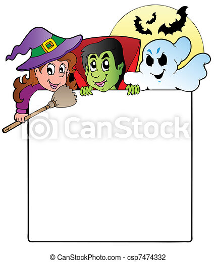 Frame with Halloween characters 1 - csp7474332